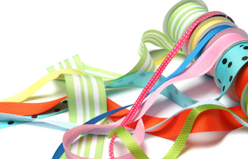 A mass of vibrant colorful ribbons