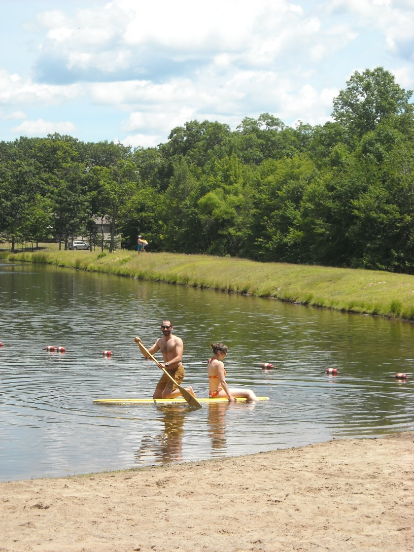 two-person paddle boarding