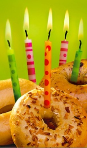 bagel with birthday candles