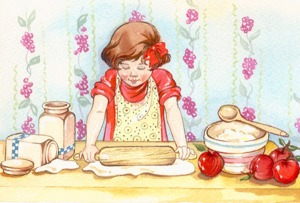 girl baking apple pie