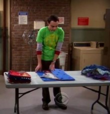 Sheldon folding laundry