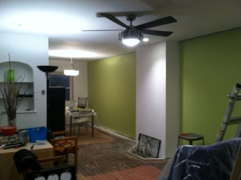 I painted the walls light great and added lighting fixtures.