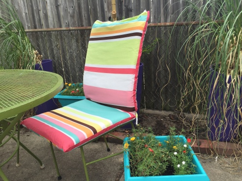 Notice how the teal stripe matches my spray painted portulaca planter PERFECTLY!