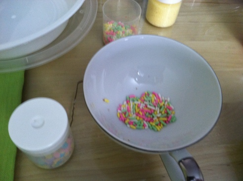 Disk out a spoonful of sprinkles and dip your first egg
