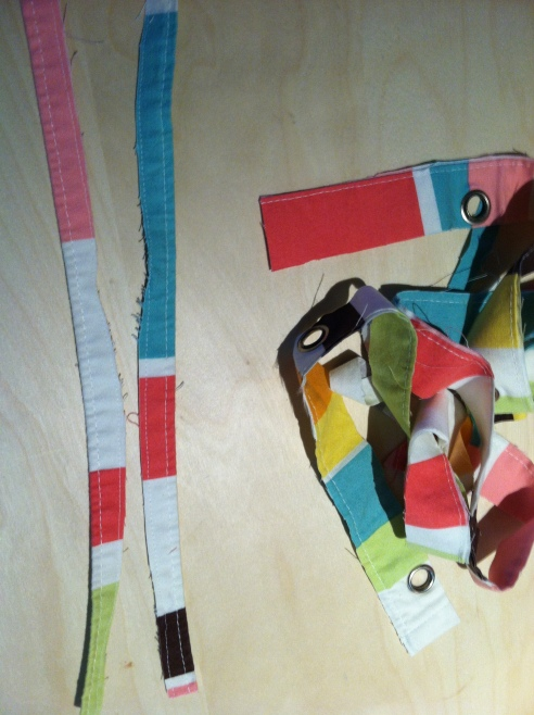 Use scraps for ties (and if you select your scraps wisely, you don't even have to sew them)