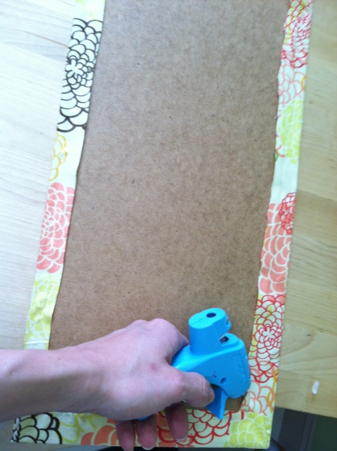 Gluing the fabric to the backing