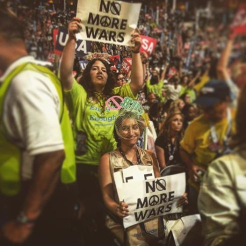 No More War signs at DNC